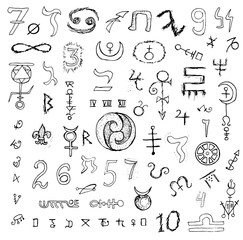 Big graphic set with mystic symbols and signs