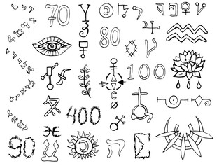 Design set with graphic mystic symbols, letters and numbers