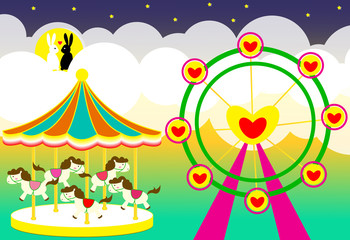 Amusement park wedding backdrop with carousel and ferris wheel and rabbits lover vector illustration