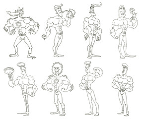 Vector Cartoon Macho men set, line art. Line cartoon image of a set of macho men in various poses on a white background.
