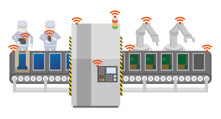 Factory automation and conveyor belt, Industry 4.0, Internet of Things, vector illustration