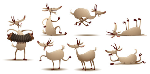 Vector Funny goats set. Cartoon image of seven funny white goats in various poses on a white background.