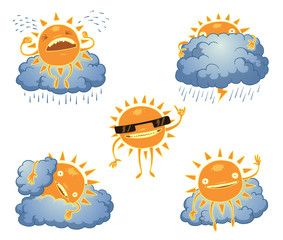 Vector Funny suns set. Cartoon image of five different yellow sun and light blue clouds on a white background.
