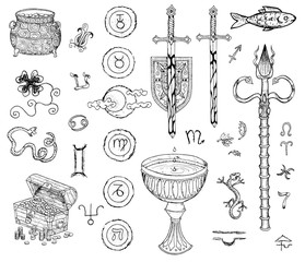Graphic set with drawings of swords,coins, mystic symbols