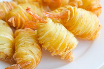 Potato String Prawns - Asian style king prawns wrapped in potato
