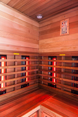 Wooden infrared Sauna interior
