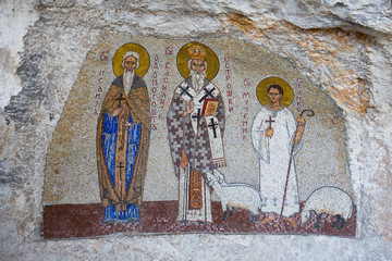Wall paintings in the Ostrog Monastery , Montenegro