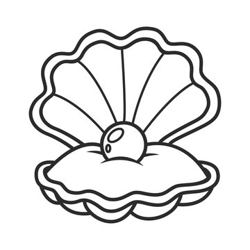 scallop seashell with pearl