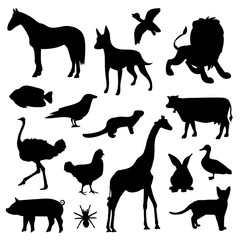 Animal Farm Pet Wildlife Zoo Silhouettes Black Icon Vector