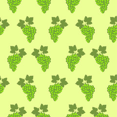 Seamless fruits vector pattern, bright color background with grapes and leaves, over green backdrop