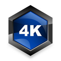 4k blue hexagon 3d modern design icon on white background