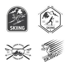 Retro skiing labels, emblems, and logos vector set