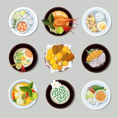 Thai food vector icons set