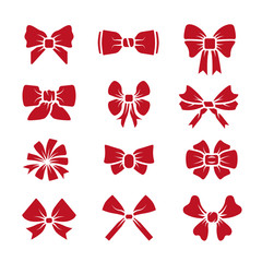 Wall Mural - Different bows red icons vector set