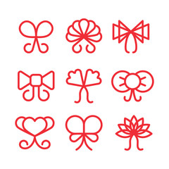 Wall Mural - Bows linear vector icons set