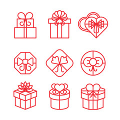 Wall Mural - Gift boxes with bows linear vector icons set