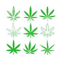 Wall Mural - Medical marijuana or cannabis vector icons set