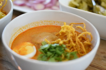 Khao soi, Northern Thai style curried noodle soup with chicken, Thai Food - Halal