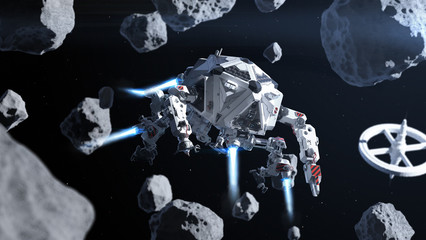 Futuristic spaceship flying in space between asteroids