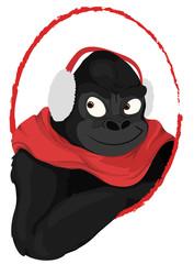 winter gorilla with earmuff