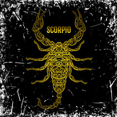 Scorpio. Ornate vintage golden Zodiac sign on grunge background. Vector hand drawn vector illustration