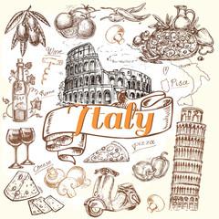 hand drawn Italy set pizza