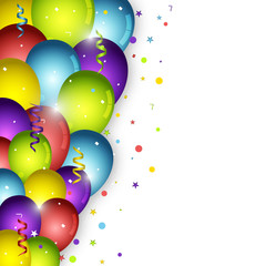 Birthday balloons on white background and confetti. Vector illustration for your party poster.