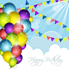 Happy Birthday greeting card with colorful balloons, confetti and flags. Vector illustration.