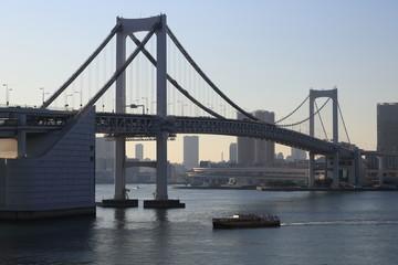レインボーブリッジと東京港の風景