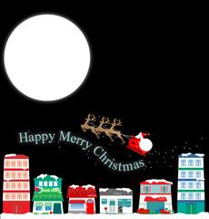 クリスマス、Santa Claus、Christmas、Xmas、トナカイ、街並み、town、町並み、夜、夜空、