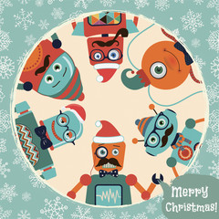 Vector Hipster Retro Robots Christmas Card Illustration