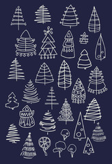 Set of Christmas white trees isolated on dark background. Graphic design editable for your design.