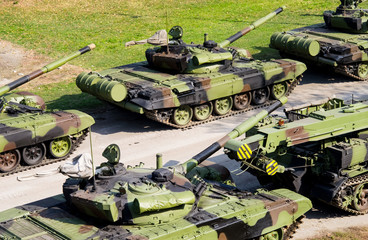 russian military tanks in line up
