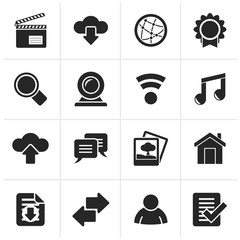 Black Internet and website icons - vector icon set