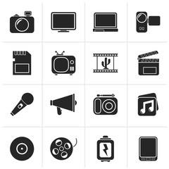 Black Multimedia and technology Icons - vector icon set
