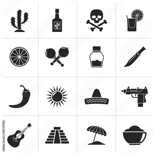 Silhouette Mexico And Mexican Culture Icons Vector Icon Set Stock