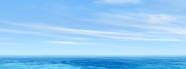 Conceptual sea or ocean water waves and sky cloudscape banner