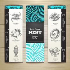 Vintage chalk drawing seafood menu design.