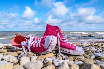 Sneakers on the seashore
