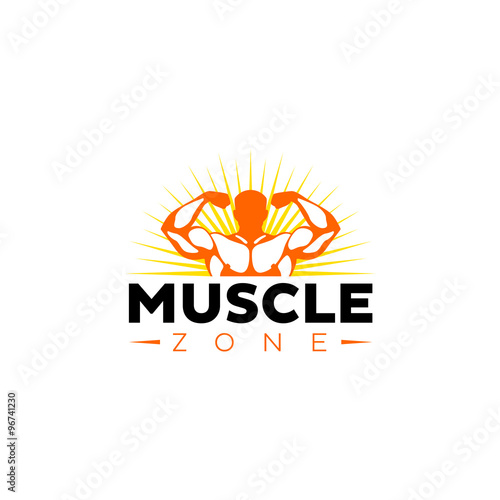 muscle zone bodybuilder logo template stock image and royalty free