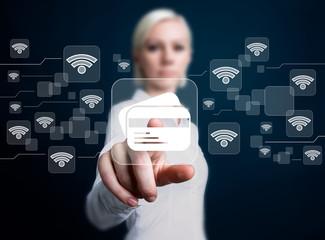 Businesswoman hand press button credit card web wifi network icon