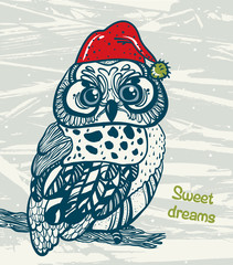 Graphic owl with red cap. Sweet dreams.