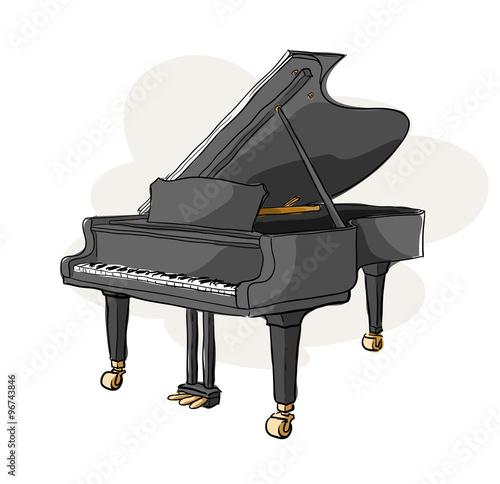 Grand Piano, a hand drawn vector illustration of a grand piano ...