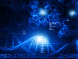 DNA molecules on blue background