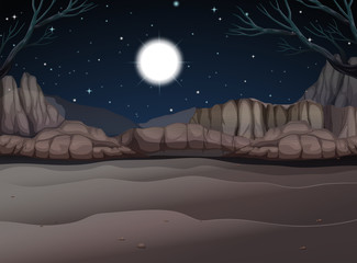 Nature scene of canyon at night