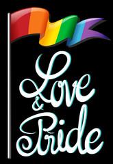 Text design and rainbow flag