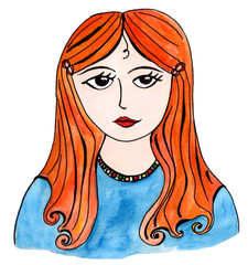 girl with red hair, hand-drawn illustration