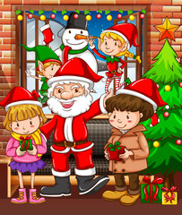 Christmas theme with Santa and children
