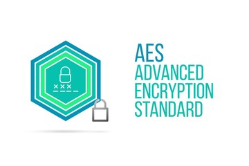 AES Advanced Encryption Standard concept image with pentagon shield and lock illustration and icon inside