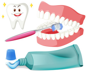 Brushing teeth with brush and paste